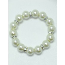 Pearl And Rondell Elasticated Bracelet