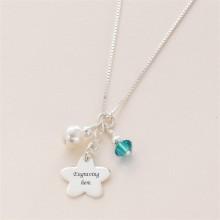 Silver Flower Girl Birthstone Necklace