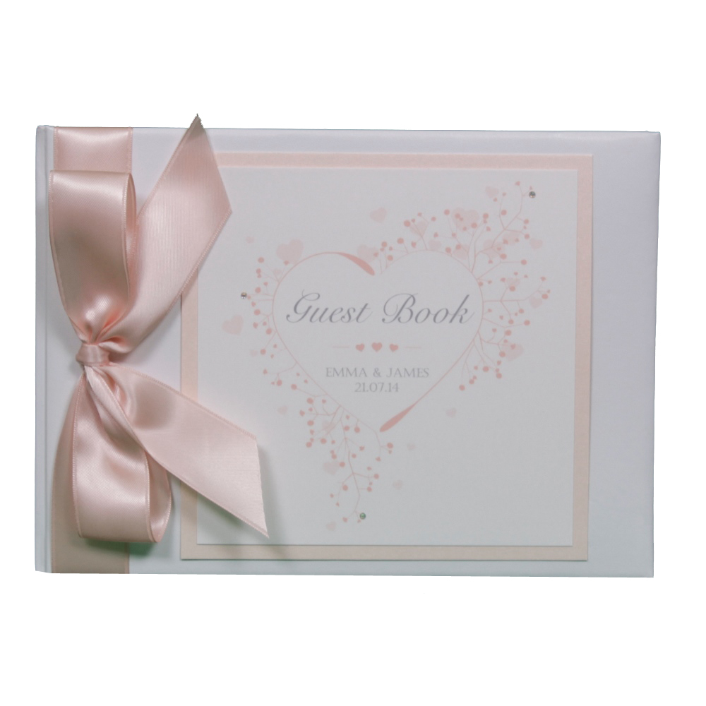 Joint Wedding Gifts For Parents : Stunning guest book in White featuring a heart design printed onto ...