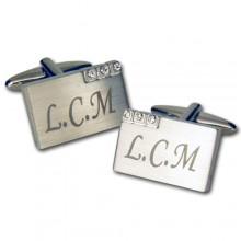 Personalised Metal With Crystal Cufflinks