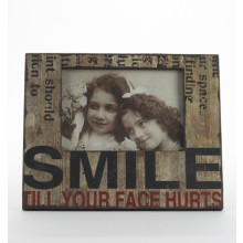 Distressed Wooden Photo Frame - Smile