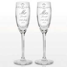 Personalised Ornate Swirl Couples Flute (Pair)