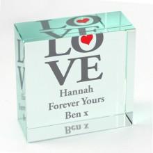 Personalised Love Crystal Block