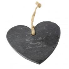 Personalised Script Slate Heart Decoration