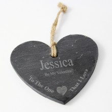 Personalised One I Love Slate Heart Decoration