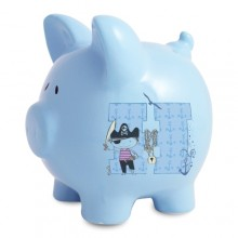 Personalised Pirate Letter Blue Piggy Moneybox