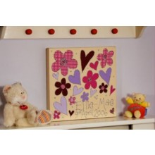 Personalised Flowers & Hearts Canvas