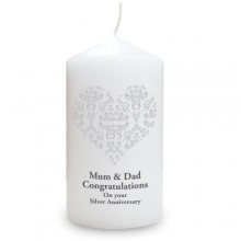 Personalised Damask Heart Candle