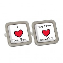 Personalised Red Heart Cufflinks