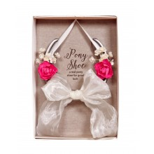 Real Pony Shoe With Pink & White Flowers
