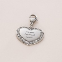 Engraved Crystal Heart Charm