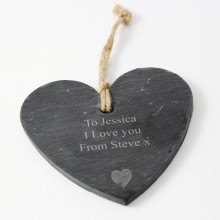 Personalised Heart Motif Slate Heart - Small