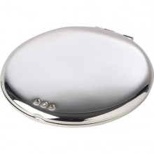 Crystal Round Mirror - Silver Plated