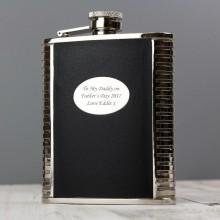 Black Leather & Steel Personalised Hip Flask