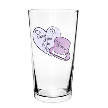 Personalised Hearts & Top Hat Wedding Pilsner Glass