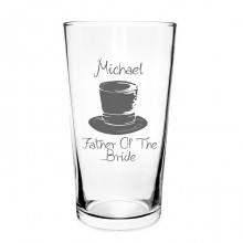 Personalised Wedding Top Hat Pilsner Glass