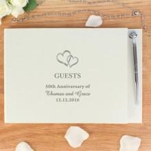 Hardback Guest Book Hearts Design