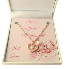 Rose Gold Heart & Pearl Necklace
